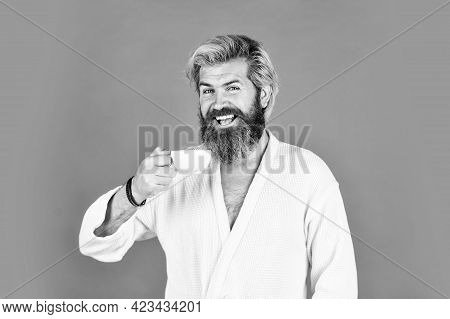 Breakfast Concept. Morning Begins With Coffee. Understanding Your Daily Rhythms. Bearded Man With Mu