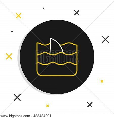 Line Shark Fin In Ocean Wave Icon Isolated On White Background. Colorful Outline Concept. Vector