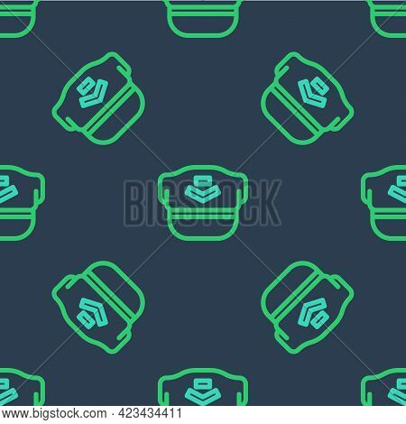 Line Pilot Hat Icon Isolated Seamless Pattern On Blue Background. Vector