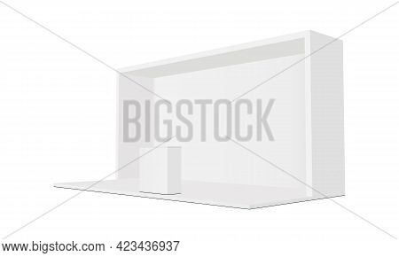 Exhibition Trade Show Booth With Demonstration Table, Side View. Vector Illustration