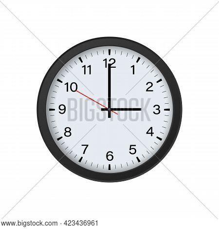 Circle Clock Mockup Isolated On White Background,3 O\'clock. Vector Illustration