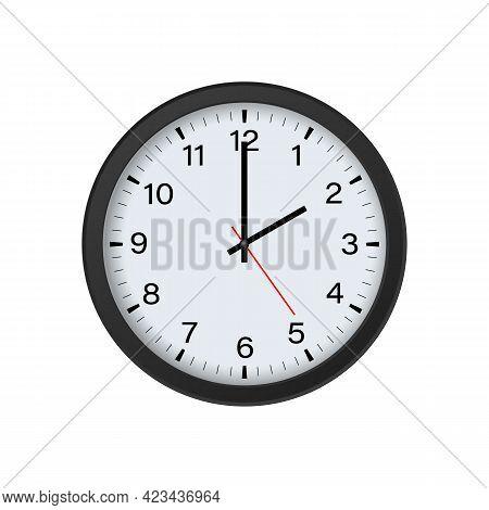 Round Clock Mockup Isolated On White Background, 2 O'clock. Vector Illustration