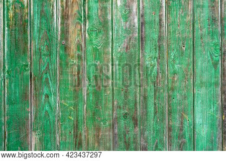 Old Wood Vintage Planks Covered With Flaky Green Paint. Wood Texture.