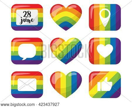 A Set Of Stickers With Elements Of Social Networks. Rectangular Buttons And A Heart With The Colors