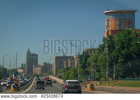 Moscow, Russia, 06.08.2021. Car Traffic On The Road In Summer In Moscow. Kutuzovsky Prospect Area. T