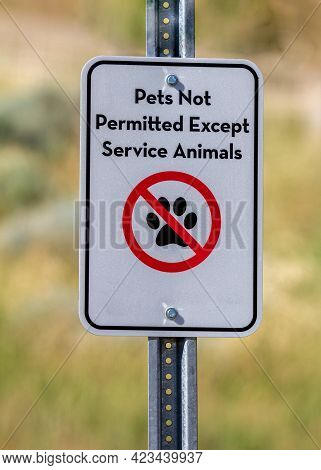 No Pets Allowed Only Service Animals Sign