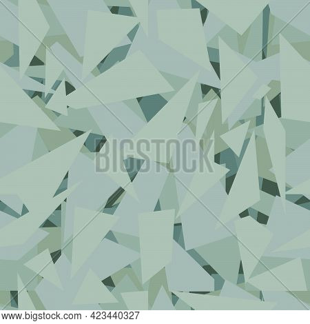 Seamless Abstract Pattern Of Shapes In The Form Of Shards In Olive Green Tones For Prints On Fabrics