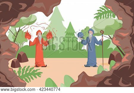 Wizards Preparing To Fight Vector Flat Illustration. Old Witch Men In Red And Blue Wizards Robes Hol