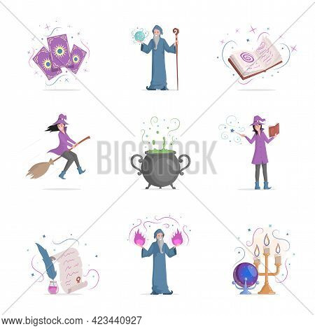 Set Of Magic Items Vector Flat Illustration Isolated On White Background. Taro Cards, Wizards With L