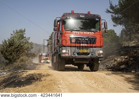 Maale Hahamisha, Israel - June 10th, 2021: Israeli Fire Engines After Extinguishing A Large Forest F
