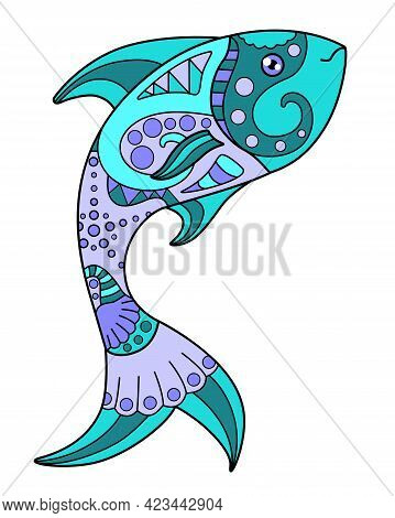 Fish - Vector Linear Full Color Zentangle Illustration - With Sea Animal. Template For Stained Glass