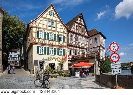 Historic, Medieval Half-timbered Houses In The Historic Center Of Schwaebisch Hall On The Kocher Riv