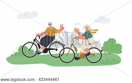 Active Grandfather, Grandmother Ride E-bike In Parkrelax.active Outdoor Seniors Life.summer Activity