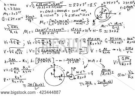 Mathematical Formulas. Handwritten On A White Background.