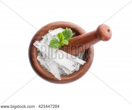 Menthol Crystals And Mint Leaves On White Background, Top View