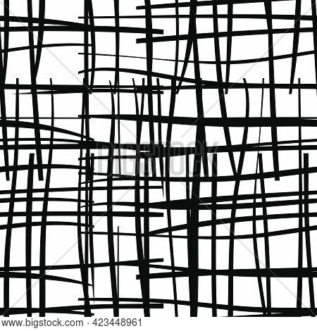 Black And White Seamless Pattern  With Grungy Grid. Monochrome Abstract Background With Destroyed Li