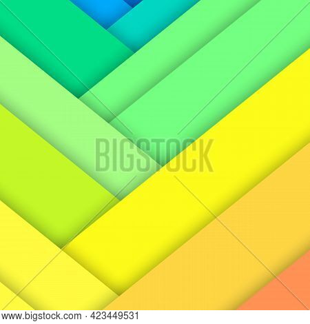 Banner With Colored Paper Sheets. Geometric Shapes Arranged In Random Order. Abstract Background. Mi