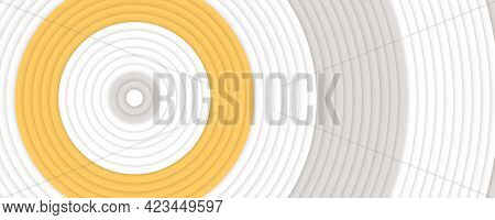Concentric Circles Yellow, White And Gray Colors. Abstract Background. Minimalistic Design. Vector I