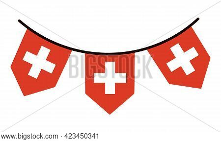 Switzerland Flag. Garland On A Thread White Cross On A Red Background. Country Symbol Vector Icon Is