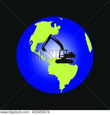 Illustration Vector Graphic Of Globe And Excavator Design