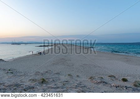 Wonderful Sunset On The Beach Of Ses Illetes On The Island Of Formentera In Spain.