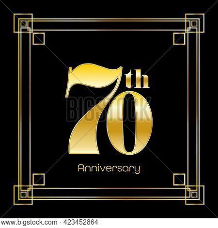 Number Seventy Logo Design With Square Ornament, Luxury Golden Design, Anniversary Concept, Vector I