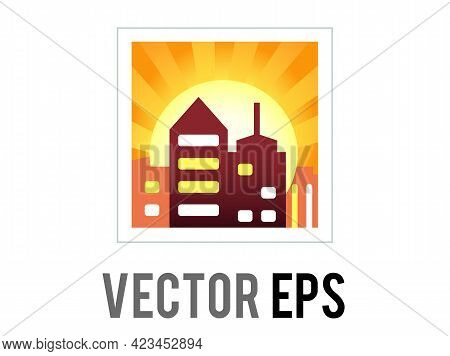 Vector Gradient Orange Sky Icon With Sun Setting Behind City Buildings At Sunset