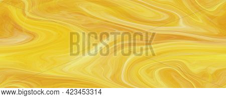 Color Glass Abstract Golden Yellow Glossy Textured Background. Liquid Marbling Ebru Seamless Texture