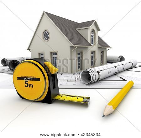 A House on top of blueprints, a pencil and a tape measure