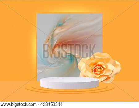 3d Abstract Design Stage With White Podium And Realistic Rose.