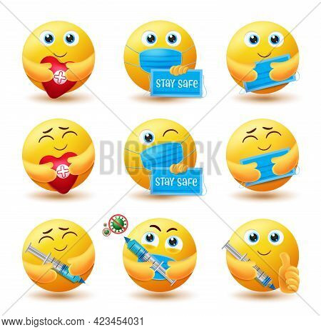 Covid-19 Emoji Vector Set. Emojis 3d Emoticon Characters In Healthy And Safe Expressions For Stay Sa