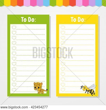 To Do List For Kids. Empty Template. Jaguar And Bee. The Rectangular Shape. Isolated Color Vector Il