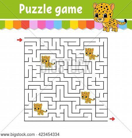 Square Maze. Game For Kids. Spotted Jaguar. Puzzle For Children. Labyrinth Conundrum. Color Vector I