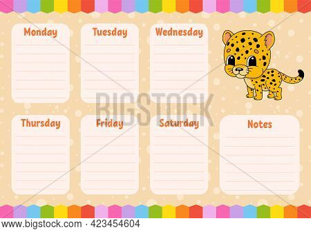 School Schedule. Timetable For Schoolboys. Spotted Jaguar. Empty Template. Weekly Planer With Notes.