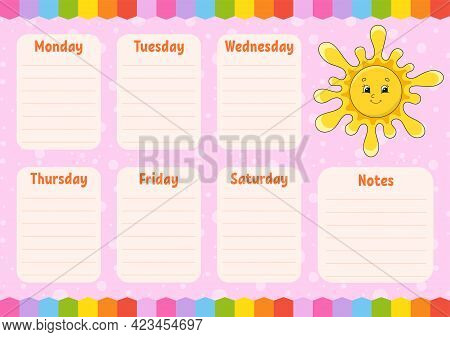 School Schedule. Cute Sun. Timetable For Schoolboys. Empty Template. Weekly Planer With Notes. Isola