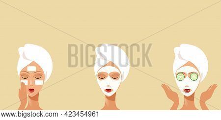 Young Woman Receiving Facial Mask Of Cucumber Wrapped In Towel Girl Cleaning And Care Her Face Skinc