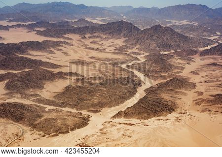 Beautiful Aerial View Landscape Of Mountains Peaks In Desert. Mountains In The Desert, Aerial View.