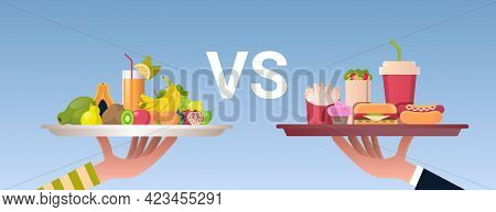 Food Choice Diet Concept Human Hands Holding Plates With Healthy Fresh Fruits And Junk Unhealthy Fas