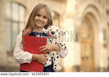Learn And Play. Happy Child Hold Toy Dog And Books. Back To School. Primary Education. Creativity An