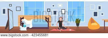 Woman Sitting Lotus Pose Girl Breathing Oxygen And Carbon Dioxide Transport Cycle Gas Exchange Conce