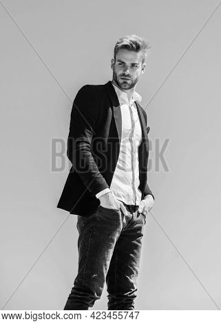 Handsome Man Wear Suit. Young Entrepreneur Businessman. On Top Of World. Hipster With Beard. Busines