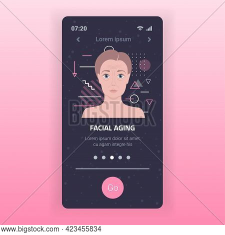 Female Face With Wrinkles Facial Aging Concept Smartphone Screen Mobile App Portrait Copy Space