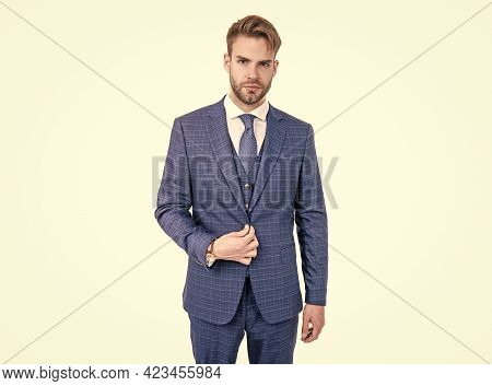Elegance Is Key. Elegant Man Wear Suit Isolated On White. Business Formal Style. Classy And Elegant