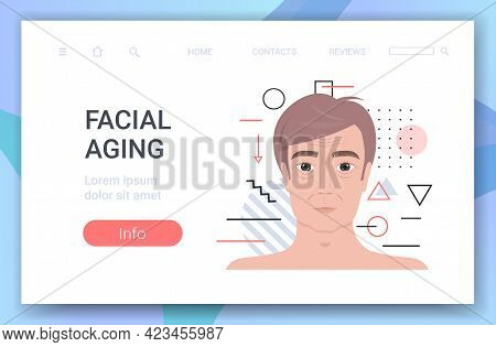 Male Face With Wrinkles Facial Aging Concept Portrait Horizontal Copy Space