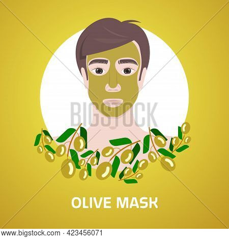 Young Man Applying Olive Face Mask Facial Treatment Skincare Concept Portrait