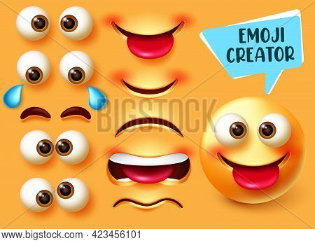 Emoji Creator Vector Set. Emoticon 3d Character Kit With Editable Face Parts Like Eyes And Mouth For