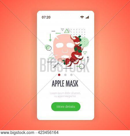 Apple Fresh Fruit Face Mask Facial Treatment Skincare Concept Smartphone Screen Mobile App Copy Spac