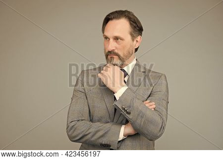 Exclusive Menswear Store. Modern Office Life. Bearded Mature Man In Formalwear. Businessman Or Manag