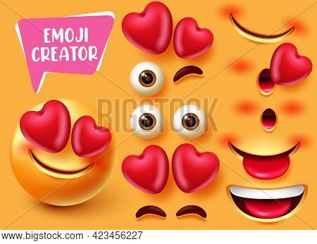 Emoji Creator Vector Set Design. Emoticon 3d In Love And Happy Character With Editable Eyes, Heart A