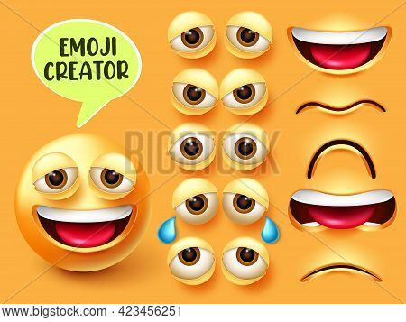 Emoji Creator Vector Set. Emoticon 3d Character In Facial Expressions Of Happy, Sad And Angry With E